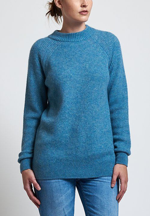 Agnona Fluffy Ribbed Sweater in Sky