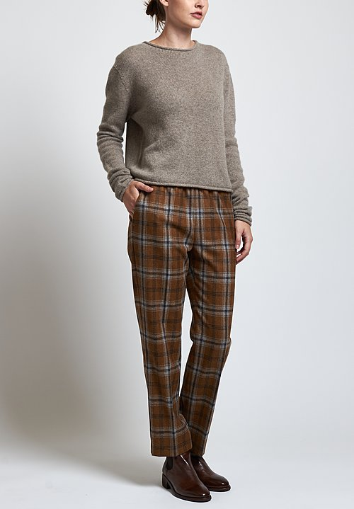 Agnona Plaid Pants in Orange