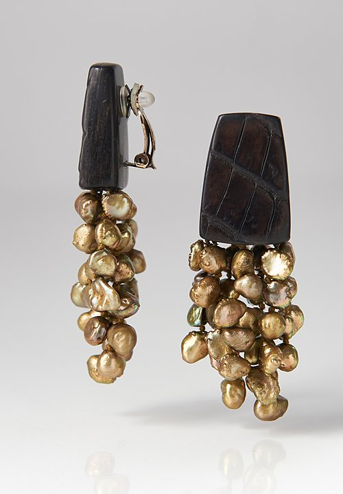 Monies Croc Leather & Pearl Earrings