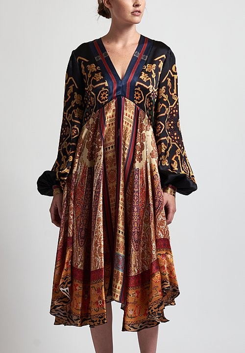 Etro Crepe Printed Dress in Black