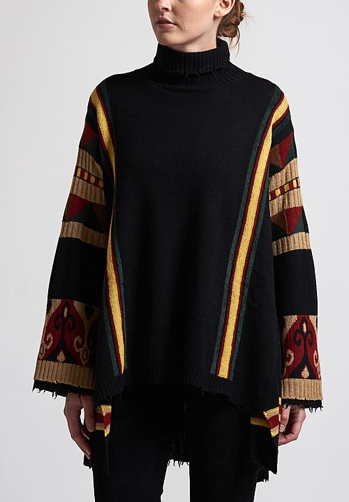 Etro Turtleneck Poncho Sweater in Black