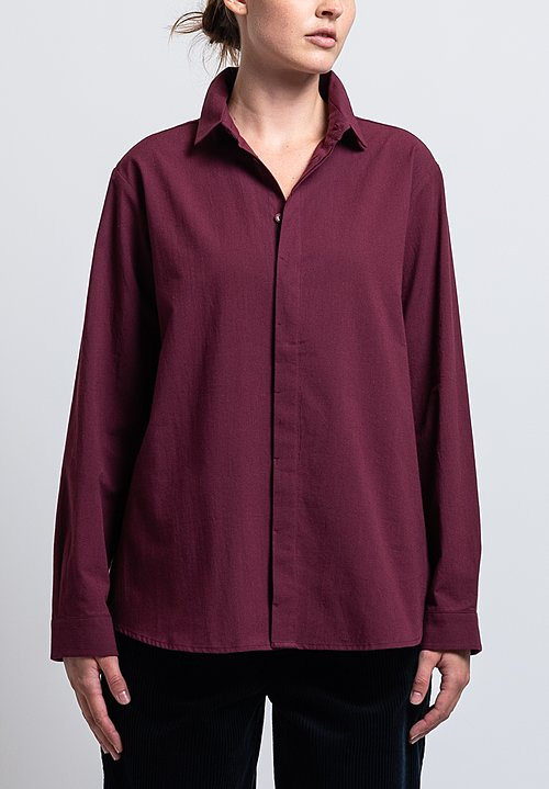 Toogood Calico Light Weave Milkman Shirt in Purple