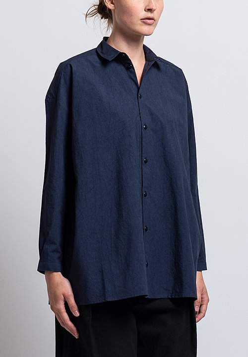 Toogood Washed Cotton Long Draughtsman Shirt in Navy