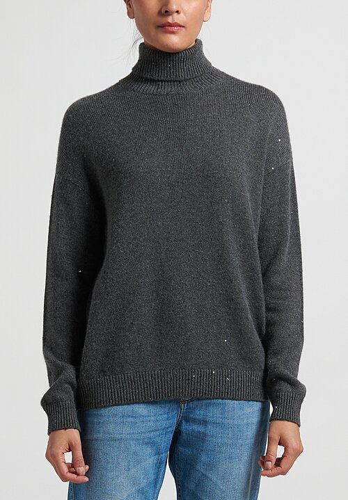 Brunello Cucinelli Sequin Turtleneck Sweater in Grey