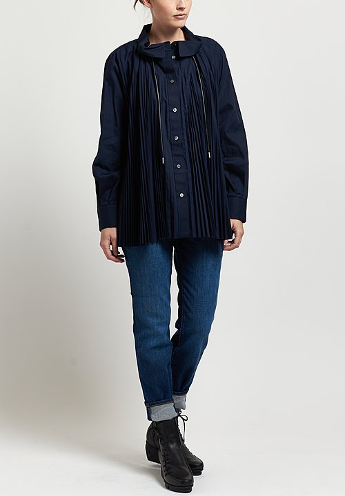 Sacai Pleated Poplin Shirt in Navy
