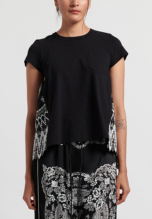 Sacai Cotton Fair Isle Embroidered Back T-Shirt