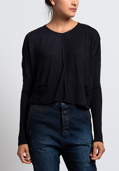 Umit Unal Jersey Pocket Crop Top in Black