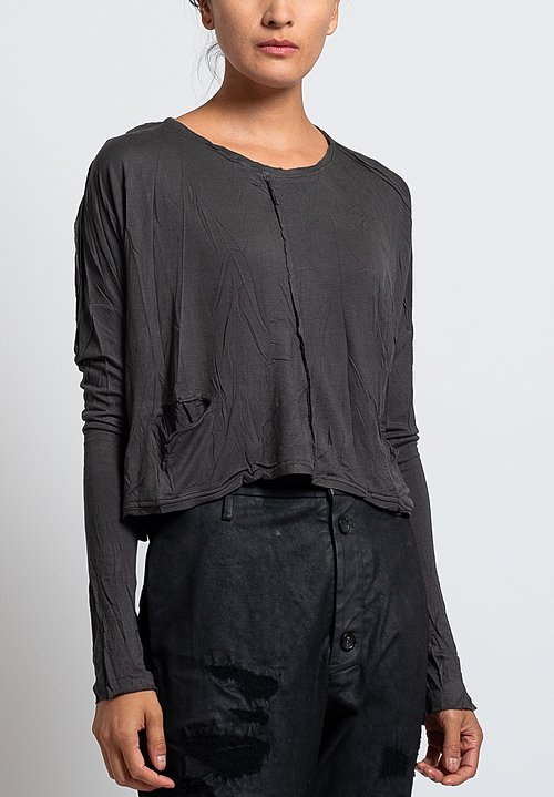 Umit Unal Jersey Pocket Crop Top in Anthracite