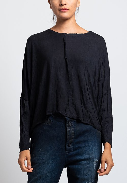 Umit Unal Jersey Long Sleeve Cropped Top in Black