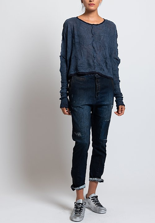 Umit Unal Distressed Narrow Fit Jeans in Blue