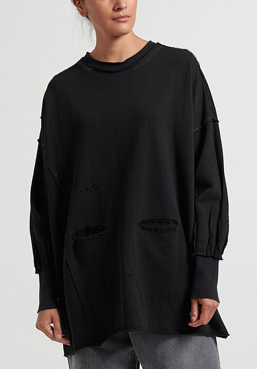 Umit Unal Long Reverse Patched Sweatshirt in Black