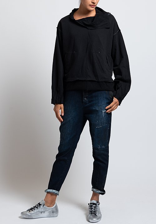 Umit Unal High Neck Reverse Patched Sweatshirt in Black