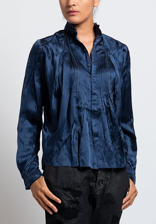 Umit Unal Silk Pleated Front Blouse in Navy