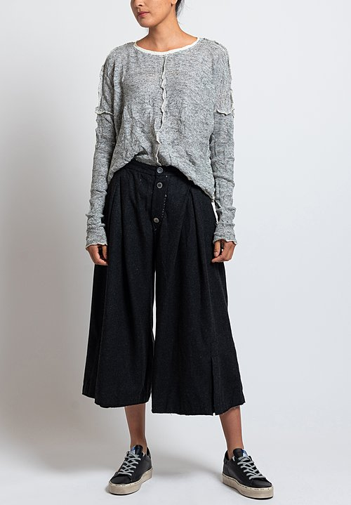 Umit Unal Wool Wide Leg Pants in Anthracite