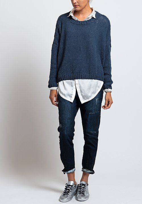 Umit Unal Relaxed Loose Knit Sweater in Blue