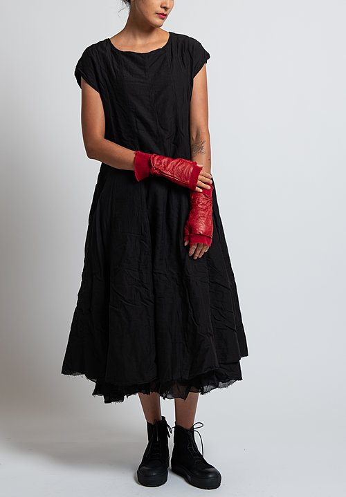 Rundholz Dip Frayed Hem Flared Dress in Black