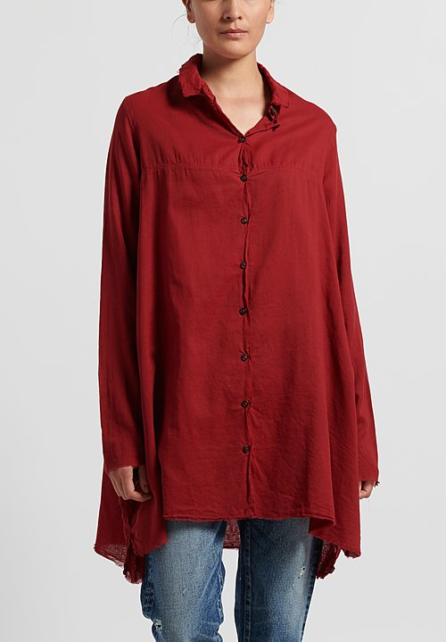 Rundholz Dip Semi-Sheer Layered Shirt in Karmin
