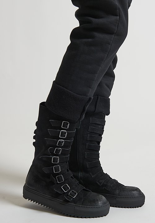Rundholz Black Label Suede Mid Calf Buckle Boots in Black