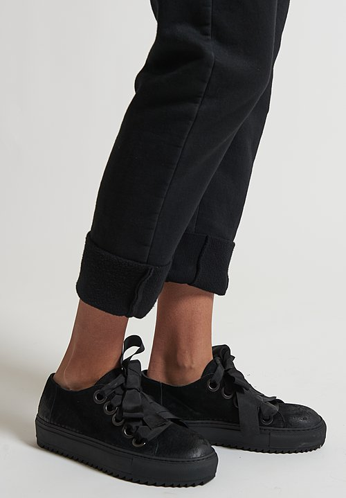 Rundholz Black Label Suede Ribbon Lace Up Shoe in Black