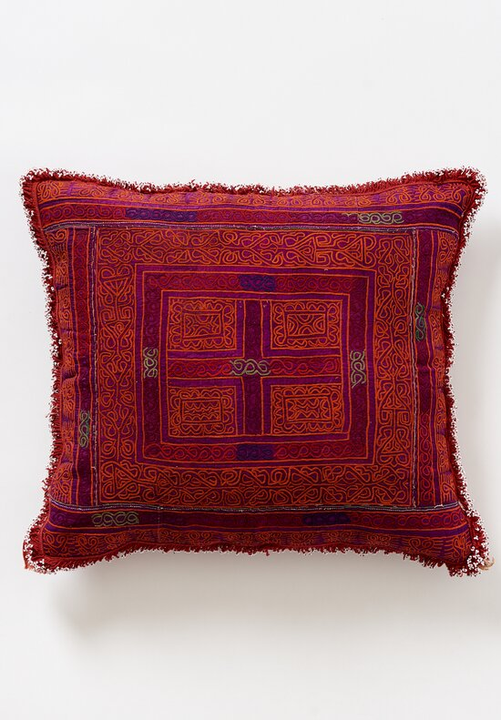 Antique and Vintage Vintage Zazi Afghani Embroidery & Bead Rectangle Pillow in Red