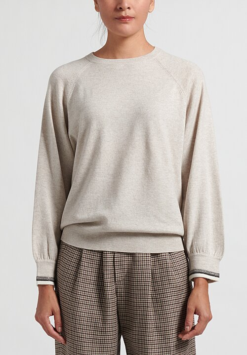 Brunello Cucinelli Monili Cuff Sweater in Cool Beige