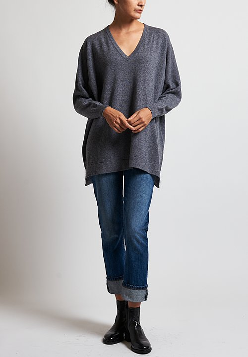 Hania New York Marley V-Neck Sweater in Smog
