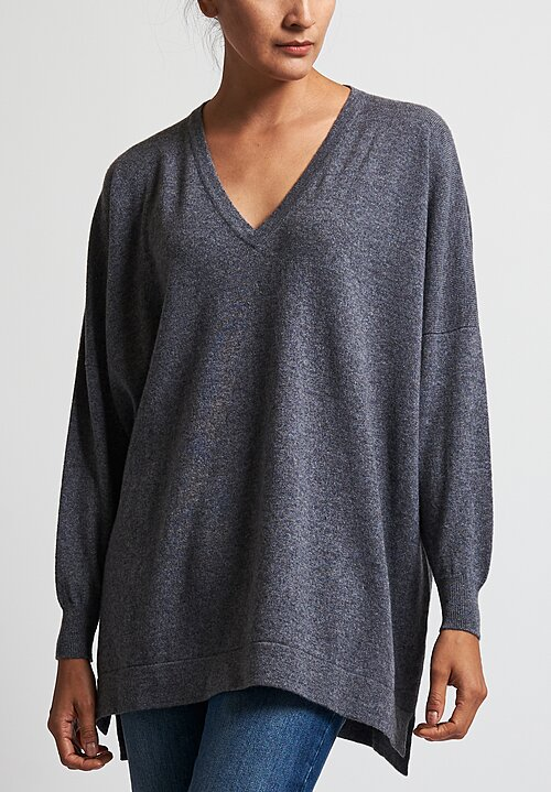 Hania New York Marley V-Neck Sweater in Grey