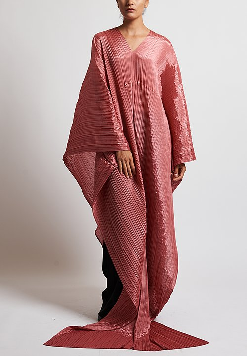 Issey Miyake Pleats Please Madame-T Wrap Tunic in Coral
