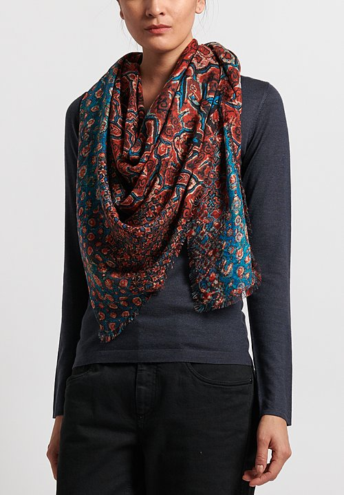 Alonpi Cashmere Printed Square Scarf in Red