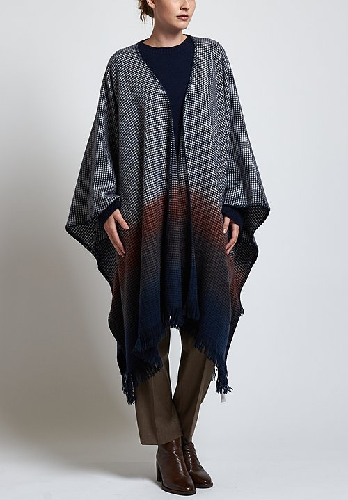 Alonpi Cashmere Hand Painted Poncho in Navy