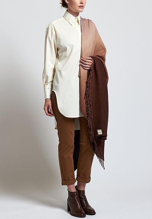 Alonpi Cashmere Soleil Degrade Fringed Shawl in Brown