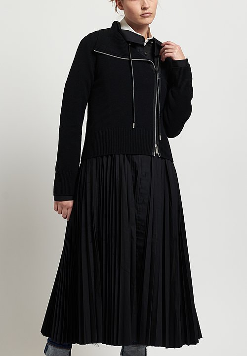 Sacai Pleated Dress with Jacket in Black