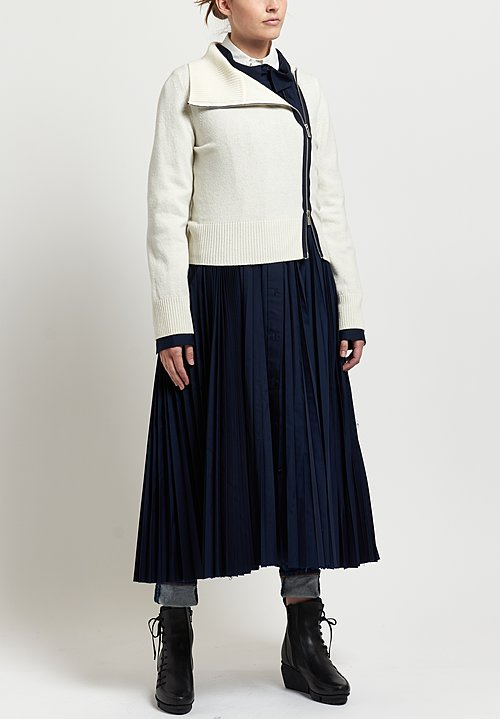 Sacai Pleated Dress with Jacket in Navy/ White
