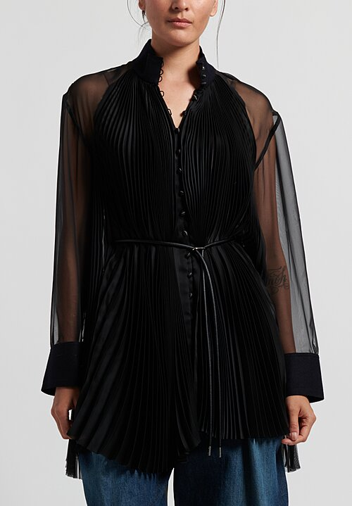 Sacai Satin Leather Belted Blouse in Black