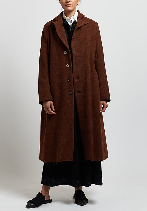 A Tentative Atelier Wool Herringbone ''Mauriac'' Coat in Brick Red