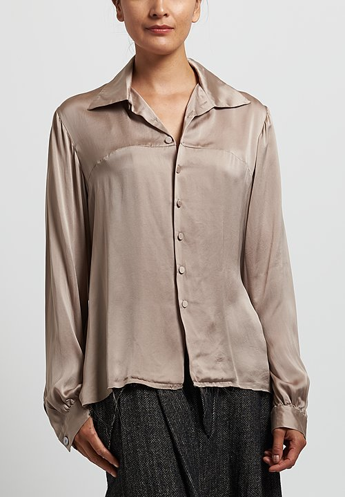 A Tentative Atelier Silk ''Alison'' Blouse in Grey Ash