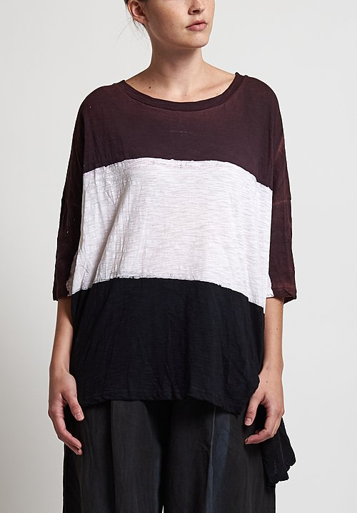 Gilda Midani Pattern Dyed Super Tee in Stripes Black, Bordeaux, White