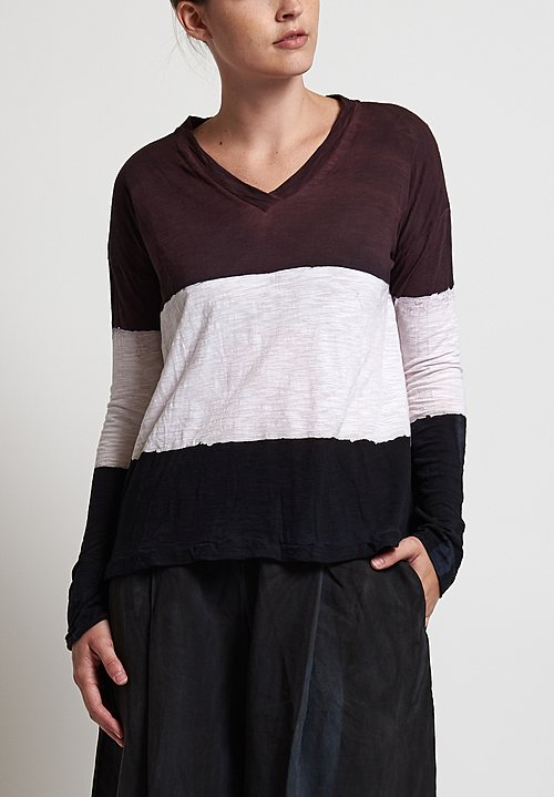 Gilda Midani Pattern Dyed V-Neck Trapeze Tee in Stripes Black, Bordeaux, White
