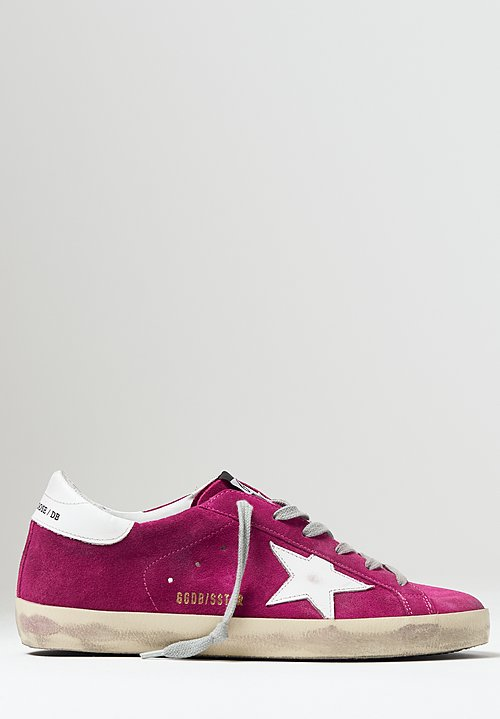 Golden Goose Suede Superstar Sneakers in Violet / White