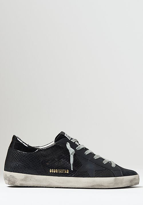Golden Goose Snakeskin Superstar Sneakers in Black