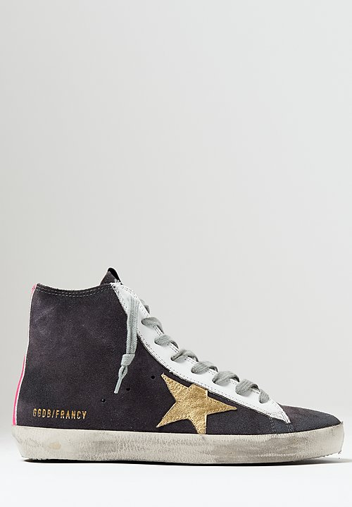 Golden Goose Suede Francy Sneakers in Asphalt / Gold