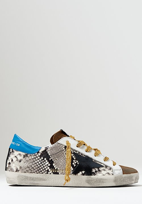 Golden Goose Snakeskin Superstar Sneakers in Rock / Black