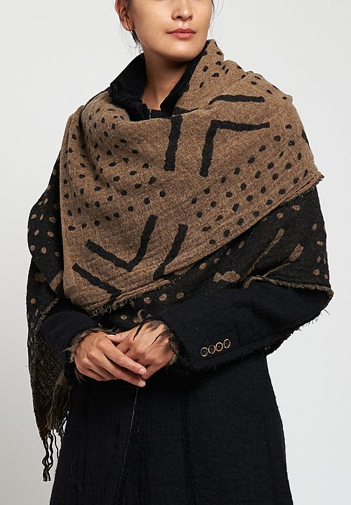 Uma Wang West African Mud Cloth Patterned Scarf