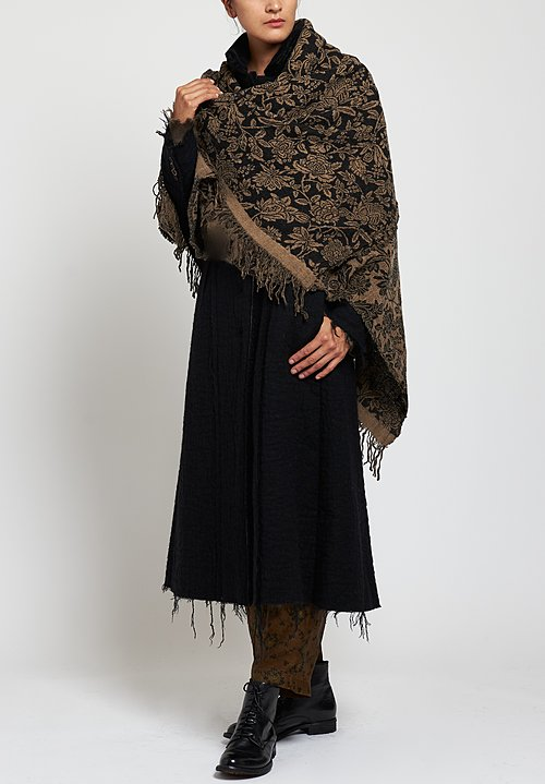 Uma Wang Double-Sided Floral Scarf in Black / Tan