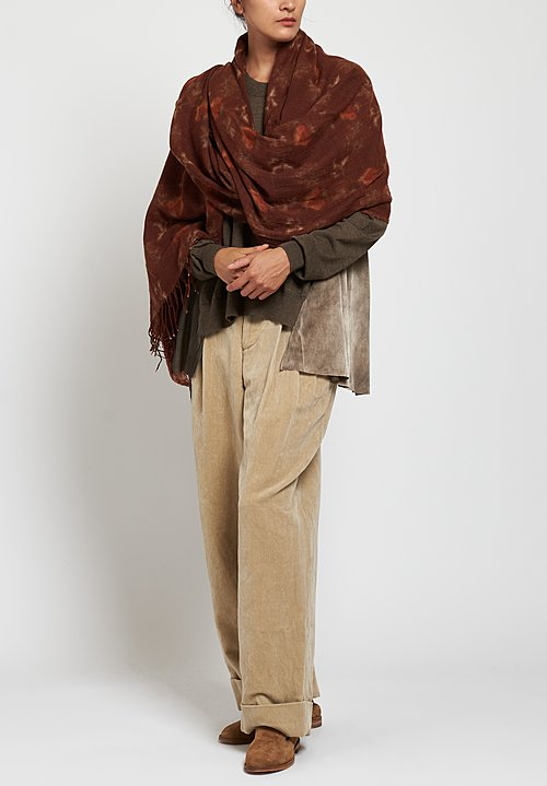 Uma Wang Vigin Wool Printed Scarf in Red / Tan