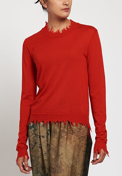 Uma Wang Distressed Sweater in Red