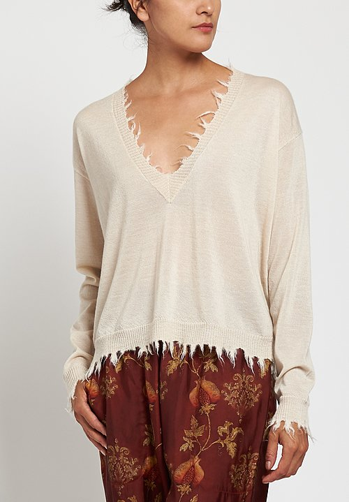 Uma Wang Distressed V-Neck Sweater in Off White
