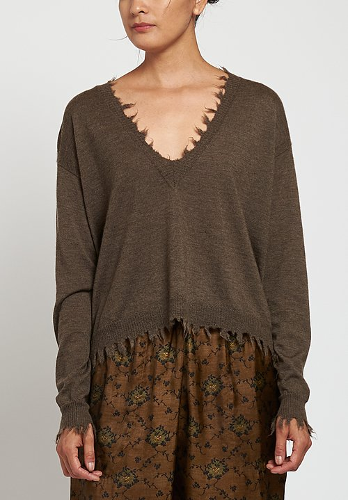 Uma Wang Distressed V-Neck Sweater in Brown