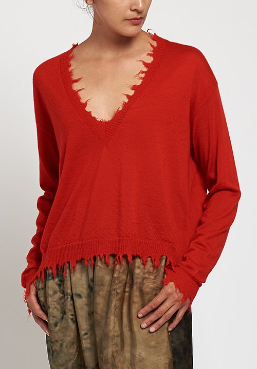 Uma Wang Distressed V-Neck Sweater in Red