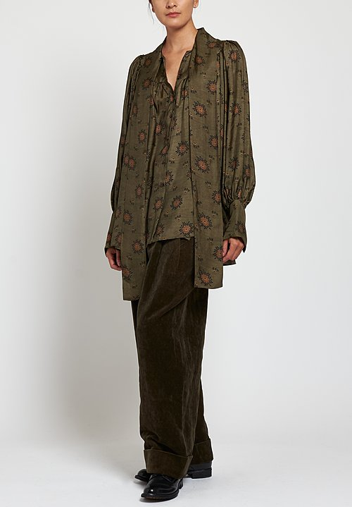Uma Wang Moulay Tracy Top in Green/ Brown